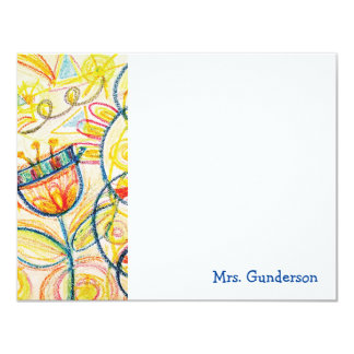 Crayon Floral Art Flat Notecards 11 Cm X 14 Cm Invitation Card