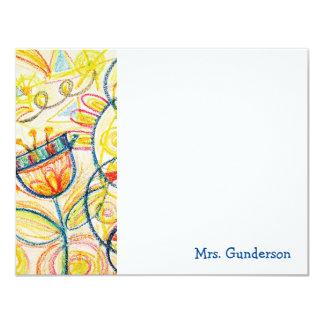Crayon Floral Art Flat Notecards 11 Cm X 14 Cm Invitation Card