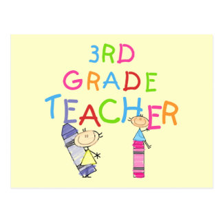 Crayons 3rd Grade Teacher Tshirts and Gifts Postcard