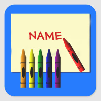 Crayons Color My Name Blue Sticker