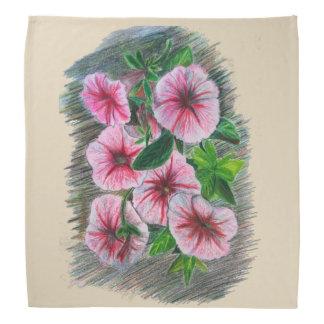 Crayons Color Pencil Drawing Pink Petunias Bandana