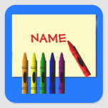 Crayons Colour My Name Blue Sticker