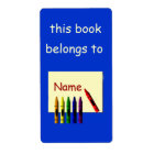Crayons Colour My Name Bookplate Label