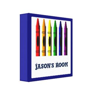 Crayons Kids Name Crayon Colorful Custom Print Gallery Wrap Canvas