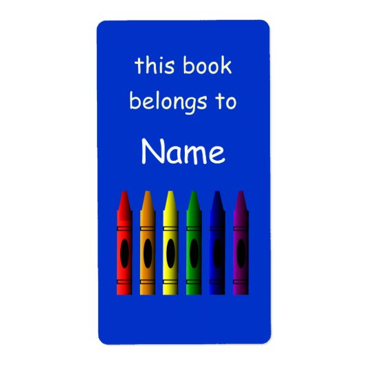 Crayons Name Crayon School Bookplate Label Shipping Label