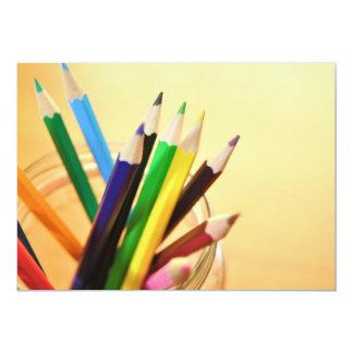 CRAYONS PENCILS COLORFUL JAR SCHOOL ART SUPPLIES 13 CM X 18 CM INVITATION CARD