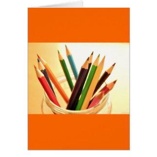 CRAYONS PENCILS COLORFUL JAR SCHOOL ART SUPPLIES P GREETING CARDS