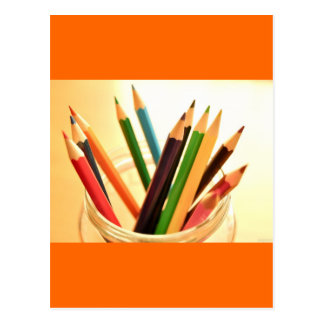 CRAYONS PENCILS COLORFUL JAR SCHOOL ART SUPPLIES P POSTCARD