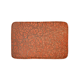 Crazed Peach Coloured Texture Bath Mat