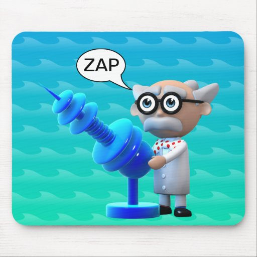 Crazy 3d Mad Scientist Raygun Deathray Mouse Pad