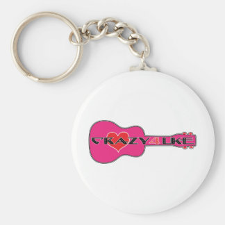 Crazy 4 Uke Basic Round Button Key Ring