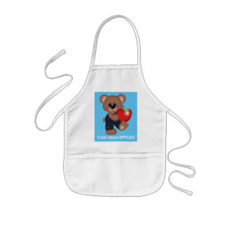 Crazy about apples bear kids apron