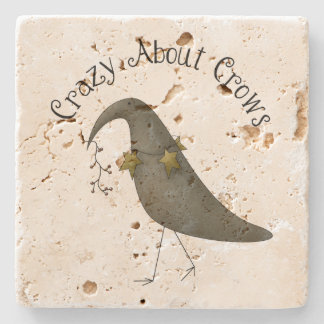 Crazy About Crows Primitive Country Crow Stone Coaster