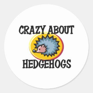 Crazy About Hedgehogs Round Sticker