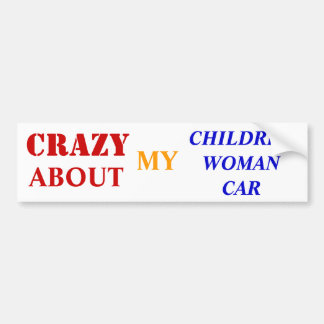 crazy about my children-woman-car bumper sticker