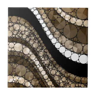 Crazy Abstract Bling Brown and Cream Tile