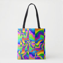 Crazy Abstract Rainbow Neon Tote Bag