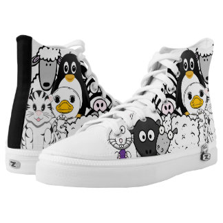 Crazy and Funny Black and White Cartoon Animals High Tops