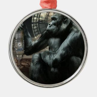Crazy Ape Gorilla Animal Silver-Colored Round Decoration