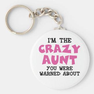 Crazy Aunt Basic Round Button Key Ring