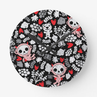 Crazy babies pattern round clock