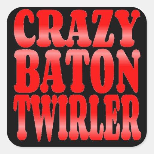 Crazy Baton Twirler in Red Square Stickers