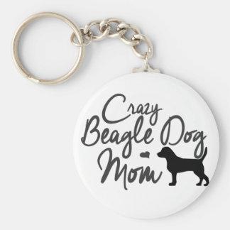 Crazy Beagle Dog Mom Key Ring