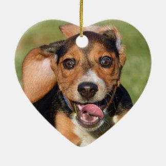 Crazy Beagle Puppy Heart Shaped Christmas Ornament