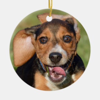 Crazy Beagle Puppy Running Christmas Ornament