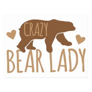 Crazy Bear Lady Postcard