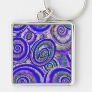 Crazy Beautiful Abstract Silver-Colored Square Key Ring