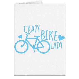 Crazy Bike Lady Greeting Card