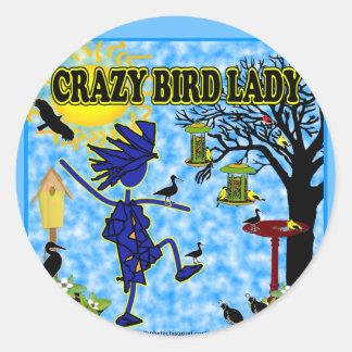 Crazy Bird Lady Design Round Stickers