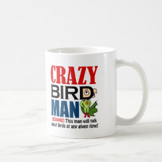 Crazy bird man basic white mug