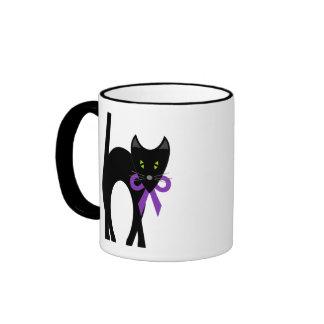 Crazy Black Cat Ringer Mug
