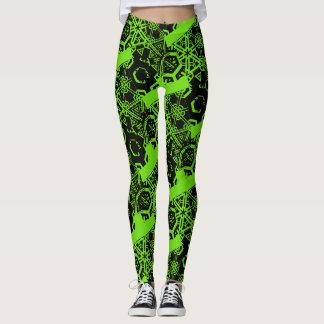 Crazy Black Pattern on Lime Green Leggings