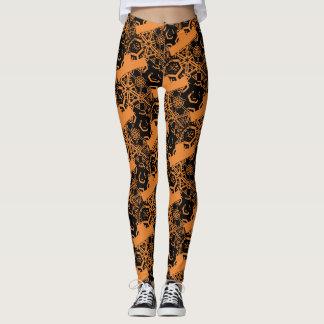 Crazy Black Pattern on Orange Leggings