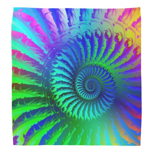 Crazy Blue Fractal Art Pattern Bandannas