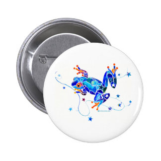 CRAZY BLUE TREE FROGS PINBACK BUTTONS