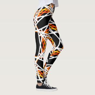 Crazy Bright Gold and Black Kaleidoscope Pattern Leggings