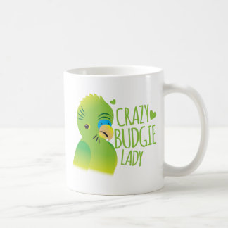 Crazy budgie lady coffee mug
