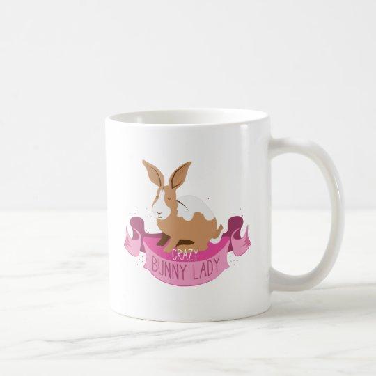 crazy bunny lady banner coffee mug