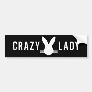 CRAZY BUNNY LADY BUMPER STICKER