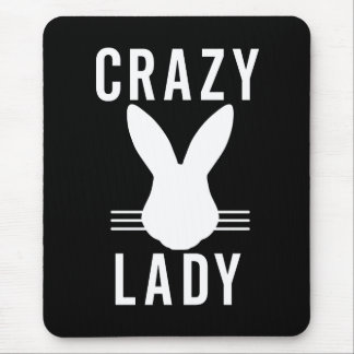 CRAZY BUNNY LADY MOUSE MAT