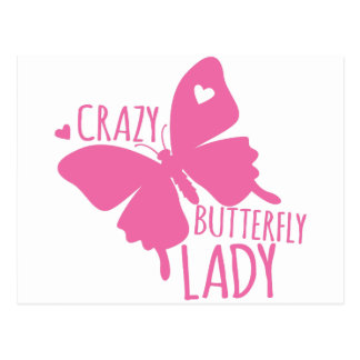 Crazy butterfly lady postcard