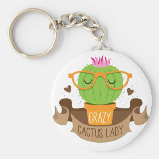 crazy cactus lady banner key ring