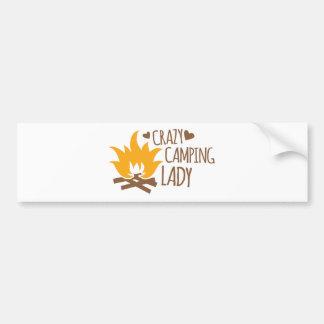 Crazy Camping Lady Bumper Sticker