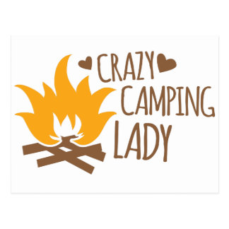 Crazy Camping Lady Postcard