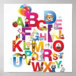 crazy cartoon alphabet framed print