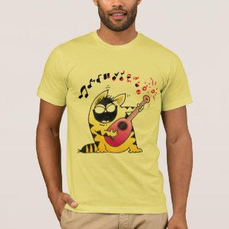 Crazy Cartoon Cat | Crazy Cat Guitarist T-Shirt